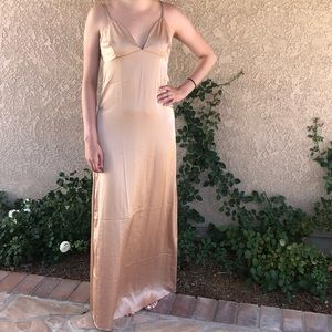 Stone Cold Fox satin champagne slip maxi dress
